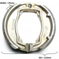 Brake Shoes OD=115x25mm With Locator Pin Ridge Fits Many ATVs and Scooters