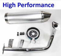 Exhaust Pipe HIGH PERFORMANCE CHROME Fits Most GY6-50 QMB139 49cc Chinese Scooter Motors Canister L=300mm D=88mm