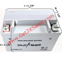 "CTX9BS-FS DuraBatt Battery Sealed Maintenance Free L=5 7/8"" W=3 3/8"" H=4 1/8"""