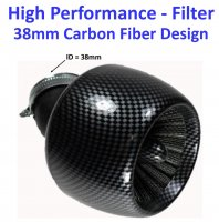 High Performance Carbon Graphite Air Filter ID=38mm Fits 49cc Scooters with PD18J Carburetors