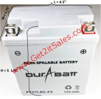 "CTX7LBS-FS DuraBatt Battery Sealed Maintenance Free L=4 1/2"" W=2 3/4"" H=5 1/8"""