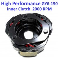 Inner Clutch 120mm HIGH PERFORMANCE Red Spring +2000 RPM GY6-125, GY6-150 Chinese ATVs, GoKarts, Scooters