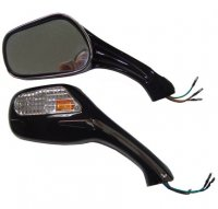 MIRRORS 8mm (Both RH Thread) Black with Turn Signal Lights Sold Per Pair with mounting hardware