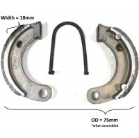 Brake Shoes OD= 75x18mm Fits Tomberlin 110cc Dirtbike
