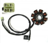 Stator 49-150cc Fits Many Taiwanese ATVs and Scooters 8 Coils 4 Pin in 4 Pin Jack **CLICK HERE FOR ADDITIONAL DETAILS IF YOUR ATV HAS A 6 POLE Stator**