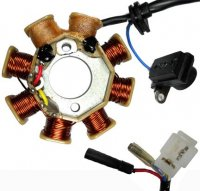 Stator 49-150cc GY6 Fits Many ATVs, GoKarts, Scooters 8 Coils 2 Pin in 3 Pin Jack + 2 wires Pickup Coil c/c=40