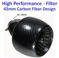 High Performance Carbon Graphite Air Filter ID=42mm Fits 125-150cc ATV, GoKarts, Scooters with PD24J Carburetors