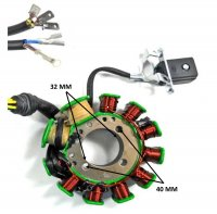Stator 200-250cc CG 11 Coil 3 Wires + 3 Wires OD=93 ID=32 H=27 Bolt Spacing 28mm/40mm