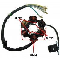 Stator 50-125cc 4 Stroke Fits Many Chinese ATVs, DirtBikes 6 Coils 5 Wires OD=83 ID=29 H=27 Bolts c/c=41