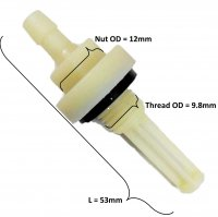FUEL FILTER Fits into Gas Tanks of Many Gokarts, Minibikes, Power Equipment Etc. Thread OD=9.8mm Nut OD=12mm L=53mm