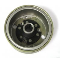 FLYWHEEL 49cc ID=81.5mm H=37mm Shaft opening taper=16.75mm to 14mm QJ 2-stroke