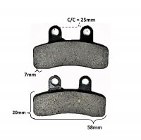 Disc Brake Pads 58x20x7 Holes c/c=25mm
