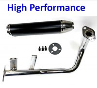Exhaust Pipe HIGH PERFORMANCE BLACK/CHROME Fits Most GY6-50 QMB139 49cc Chinese Scooter Motors Canister L=280mm D=60mm