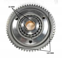 STARTER CLUTCH 250-300cc OD=122 ID=22 59th Fits Most GY6-CF-CN-CH 250cc + Honda Type Vertical Cylinder Motors Fits many ATVs, Dirtbikes, GoKarts, Scooters