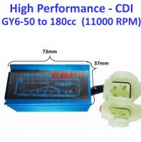 High Performance CDI Box (AC) GY6-50cc 11000 RPM 28deg Angle 2 plug, 6 pin 73mm x 37mm