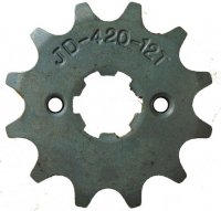 FRONT SPROCKET #420 12th Bolts=2x26mm Ctr to Ctr, Splines=6 Shaft=14/17mm (shortest/longest point) Bolts=M5, Holes Ctr to Ctr=26mm