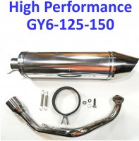Exhaust Pipe HIGH PERFORMANCE - CHROME Fits Most GY6-125, GY6-150 Chinese Scooters Canister L=340mm D=100mm