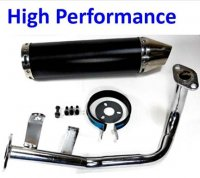 Exhaust Pipe HIGH PERFORMANCE BLACK/CHROME Fits Most GY6-50 QMB139 49cc Chinese Scooter Motors Canister L=300mm D=88mm
