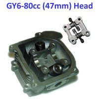 80cc Cylinder Head 47mm For GY6-50 QMB139 Scooter Motors. Valves Installed. With Rocker Arm Assy.