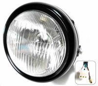 "HEADLIGHT (Round) OD=6"" 3 Pins in 3 Pin Male Jack + 1 Wire Fits Minibikes Baja MB165-200, Coleman, + Others"