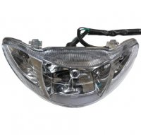 "Headlight Fits Many Chinese 50cc Scooters W=9.5"" H=3.5"" Mounting = 7"" c/c 4 pin in 4 pin female jack"