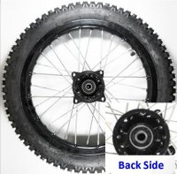 "Wheel Rim (Front) (14"") WITH TIRE 1.40X14 Disc Brake Hub-Black Axle ID=12 Tire 2.50x14 Bolts Cross c/c=99mm-Other side has no bolts or hub."