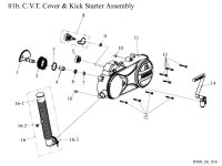 Crankcase Clutch Cover and Kick Starter Assembly