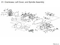 Crankcase, LH Cover, and Spindle Assembly