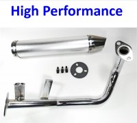 HIGH PERFORMANCE CHROME Exhaust Pipe Fits Most GY6-50 QMB139 49cc Chinese Scooter Motors Canister L=280mm D=60mm