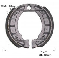 Brake Shoes OD=105x25mm With Locator Pin Ridge Fits E-Ton Beamer + other ATVs and Scooters