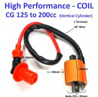"Ignition Coil RACING HIGH PERFORMANCE Plug Cap=45deg, 18"" 1 Terminals Fits Many ATVs, Motocycles With 110-250cc Engines"