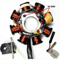 Stator 49-150cc 4 Stroke Fits Many Chinese ATV, GoKarts, Scooters 8 Coil 2 Pin in 3 Pin Jack + 2 Wires 1 Pole Wrapped Pickup Coil c/c=40