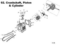 Crankshaft Cylinder Piston and Tensioned