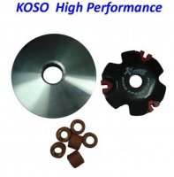 VARIATOR KIT (HIGH PERFORMANCE) KOSO GY6-QMB 49cc Chinese Scooters Shaft=14mm OD=84