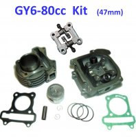80cc Cylinder Piston Top End Kit With EGR Head For GY6-50 QMB139 Chinese Scooter Motors. Bore=47mm