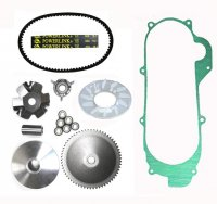 Variator Belt Kit, Short Case Chinese GY6 QMB139 49cc Scooter 669x18x30 Powerlink Belt, Crankcase Gasket Shaft=14mm