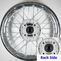 REAR WHEEL 1.85x12 For Disc Brake - Silver Hub Both Sides - Bolts Cross Ctr to Ctr 68mm Axle ID=12mm Seal 20x37x7x6
