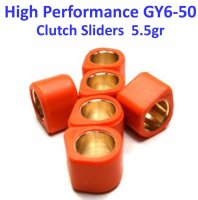 16X13 (5.5g) High Performance Clutch Sliders Set for GY6-49, 50, 70, 80cc 4 Stroke Scooter Engines