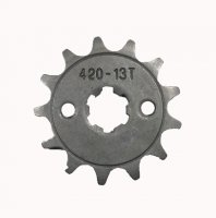 Front Sprocket #420 13th Bolts=2x30mm, Splines=6 Shaft=14/17mm (shortest/longest point) Bolts=M5 Fits many 70-125cc ATVs
