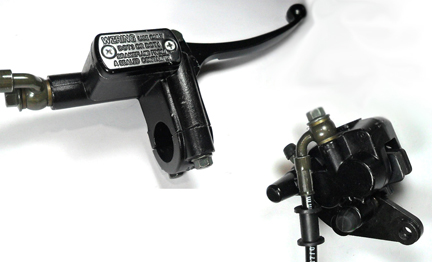 "Front Brake Assembly, Fits Many Chinese Scooters , Brake Line L= 46"", Caliper Holes 46mm Ctr to Ctr , Caliper L=54mm W=50mm"