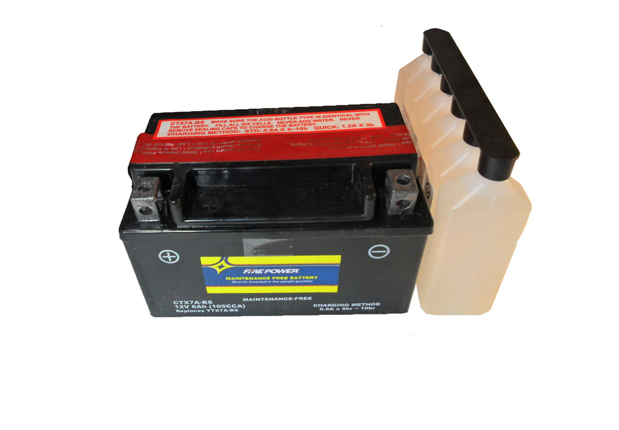 "CTX7A-BS Fire Power Battery Dry With Acid Pack 12V 6ah L=6"" W=3 1/2"" H=3.75"" Replaces YTX7A-BS"