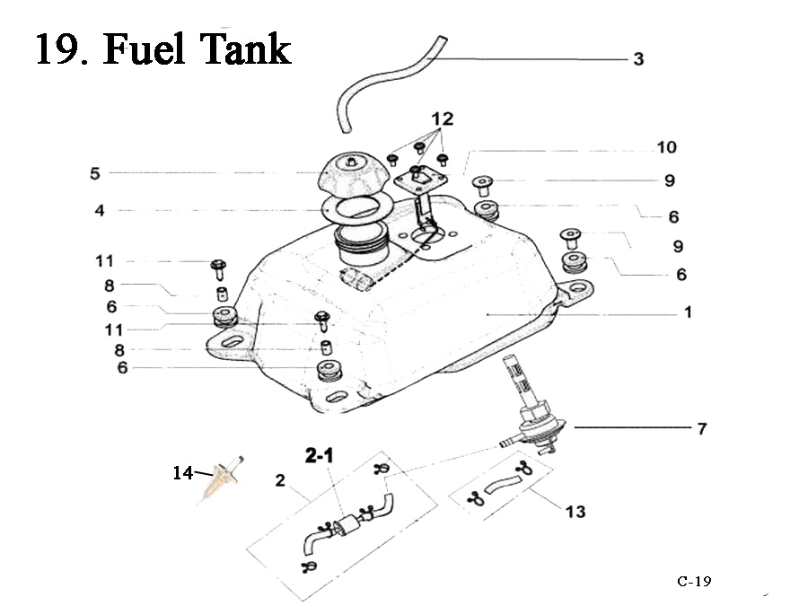 Fast Shipping on E-Ton Yukon YXL150cc ATV Fuel Tanks-Gas Caps-Fuel Valves (Petcocks) + other fuel related parts