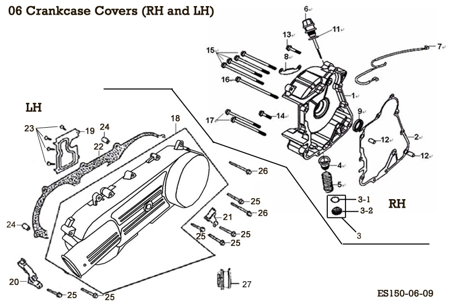 Crankcase Covers (RH and LH)
