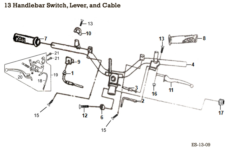 Handlebar Switch, Lever, and Cable
