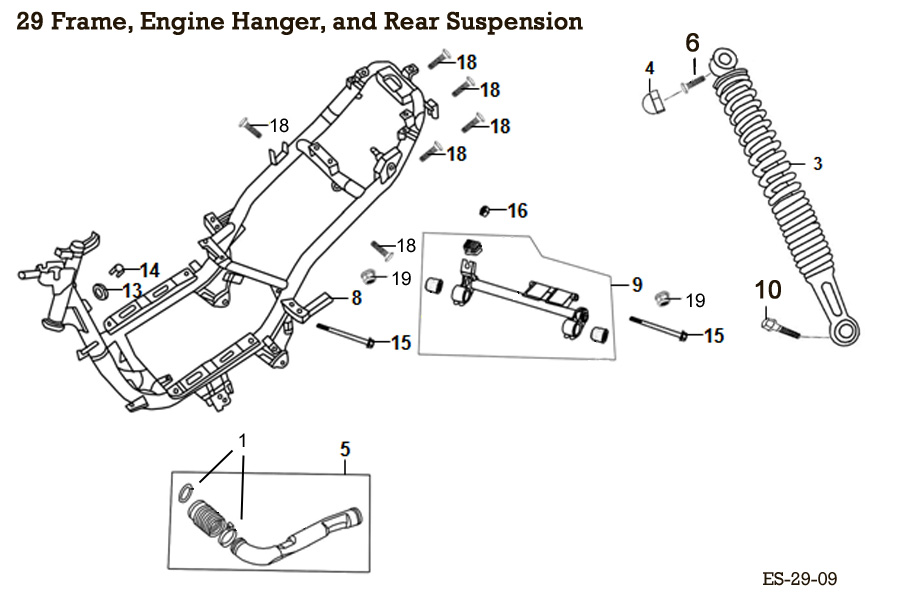 Frame, Engine Hanger, and Rear Suspension