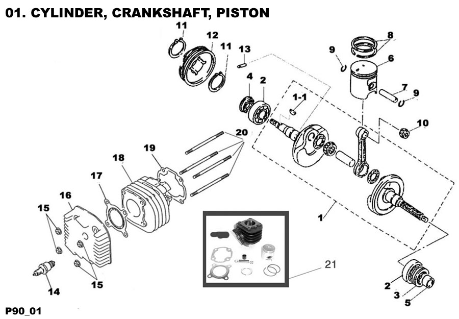 Cylinder, Crankshaft, Piston