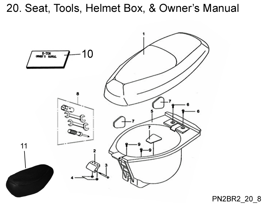 Seat, Tools, Helmet Box, and Owner's Manual