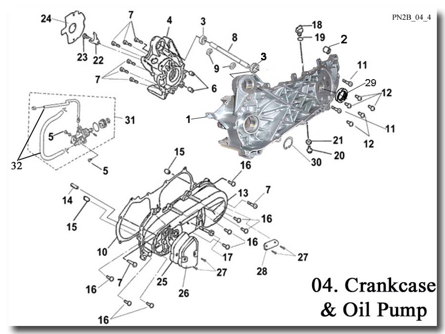Crankcase and Oil Pump