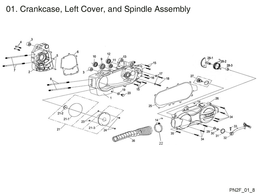 Crankcase, L Cover, and Spindle Assembly