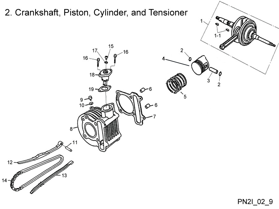 Crankshaft, Cylinder, Piston, and Tensioner